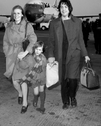 Paul McCartney arriving with wife, Linda Eastman, and daughter Heather at Kennedy Airpprt.
