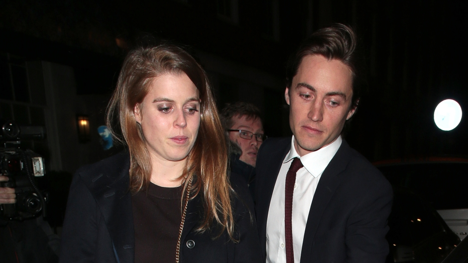 Princess Beatrice of York (L) and Edoardo Mapelli Mozzi seen on a night out at 34 restaurant