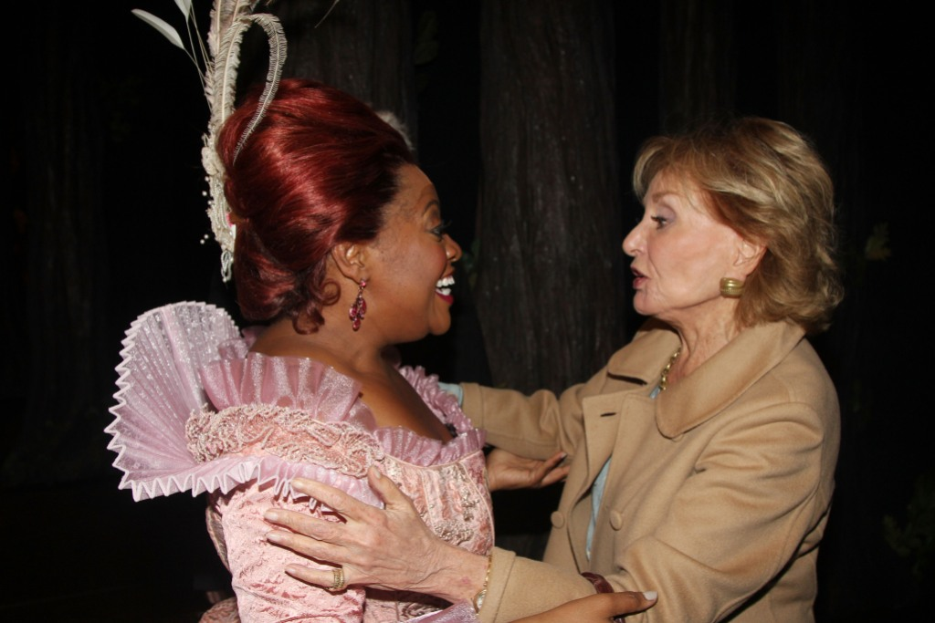 "Barbara Walters and Sherri Shepherd as ""the Evil Step-mother"" reunite backstage at ""Cinderella"" on Broadway"