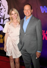 "Journalist Emily Smith (L) and her fiance, actor Steve Guttenberg, attend Freestyle Releasing's world premiere of ""Bigger"" at the Orleans Arena on September 13, 2018 in Las Vegas, Nevada."