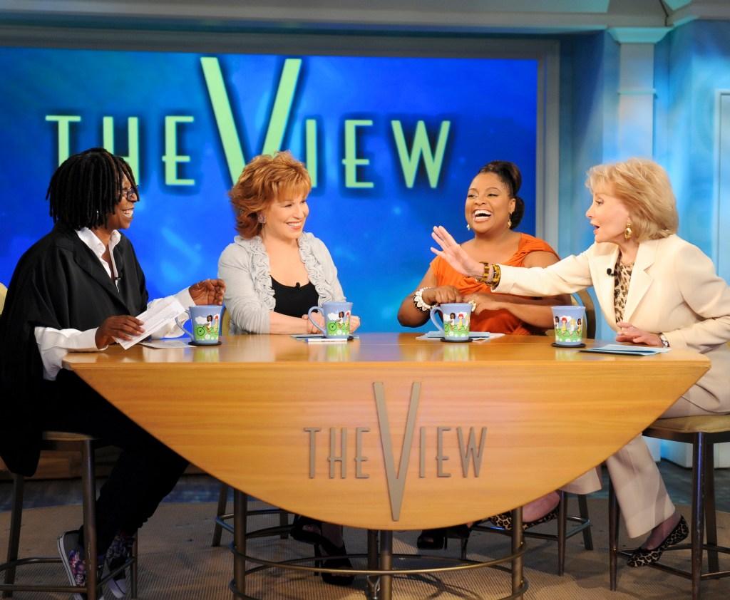"The co-hosts Whoopi Goldberg, Joy Behar, Sherri Shepherd and Barbara Walters on ""THE VIEW,"""