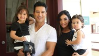 Mario Lopez Wearing a White Shirt with His Kids
