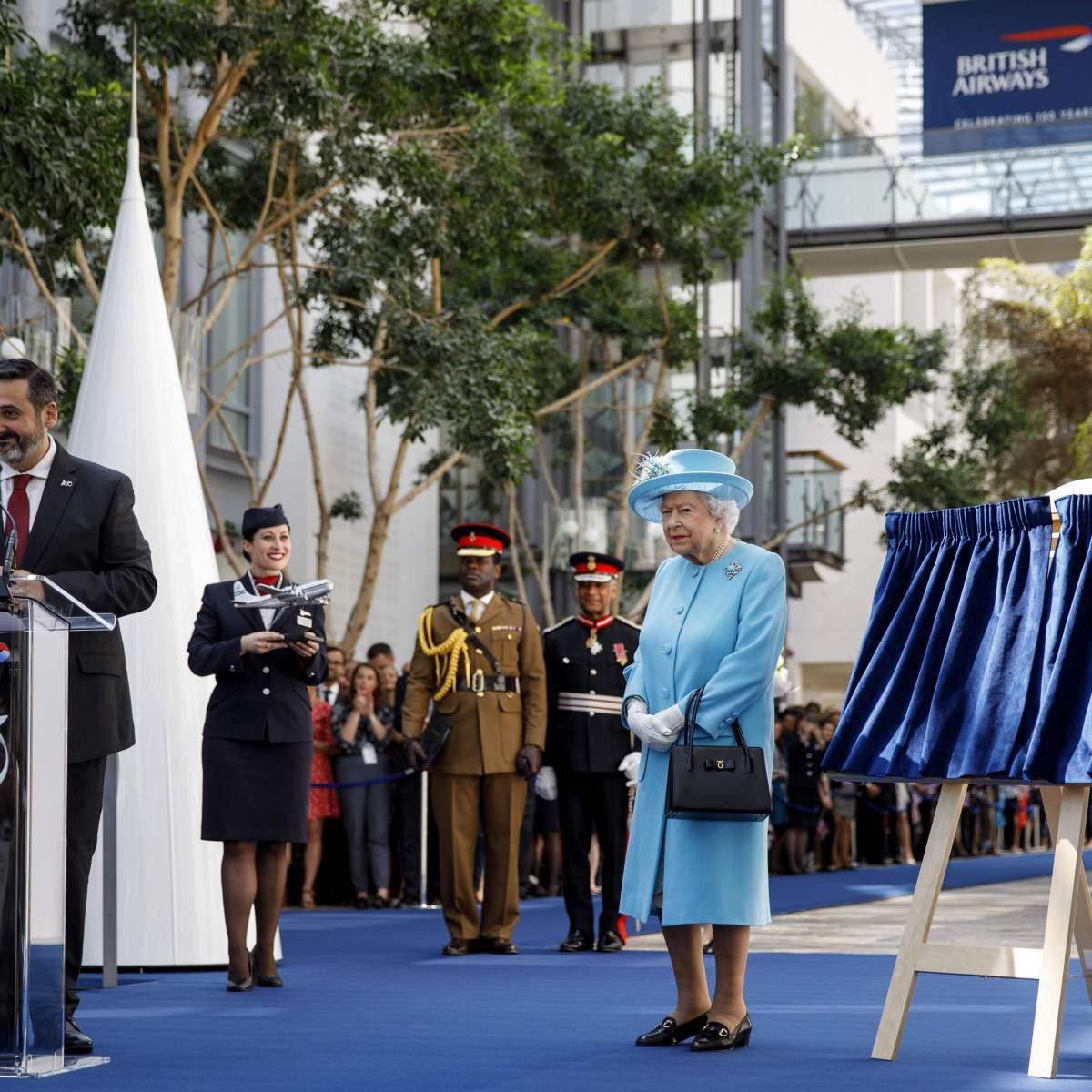 Queen Elizabeth Wears Baby Blue to British Airways Event: Photos