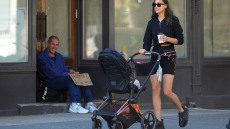 Irina Shayk strolling with her daughter, Lea, in NYC