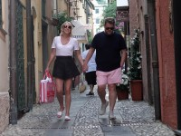 James Corden and his wife Julia Carey strolling in the port during holiday in St Tropez