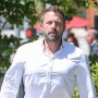 Ben Affleck Walking in Los Angeles in a White Button-Up Shirt