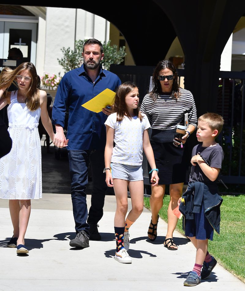 Ben Affleck and Jennifer Garner Walking With Their Kids on Church Day