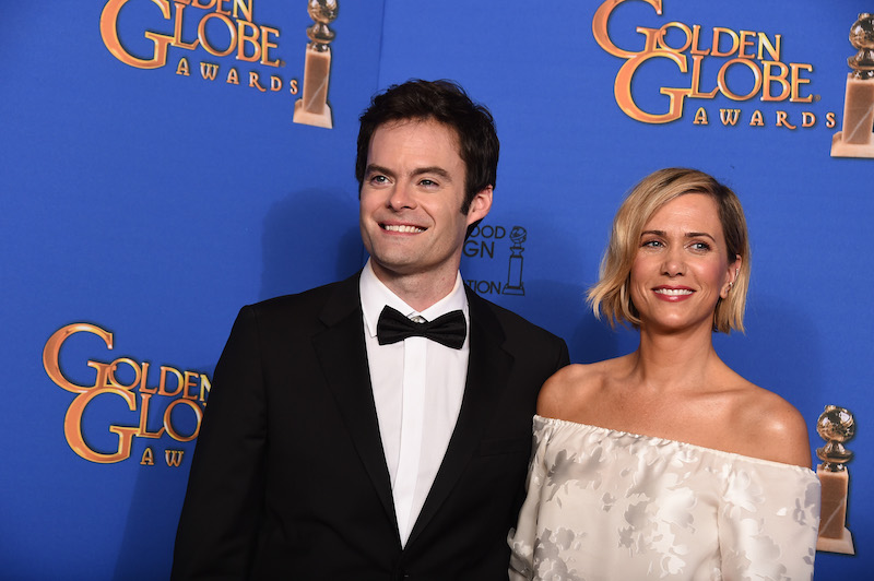 Bill Hader and Kristen Wiig at the 2015 Golden Globes