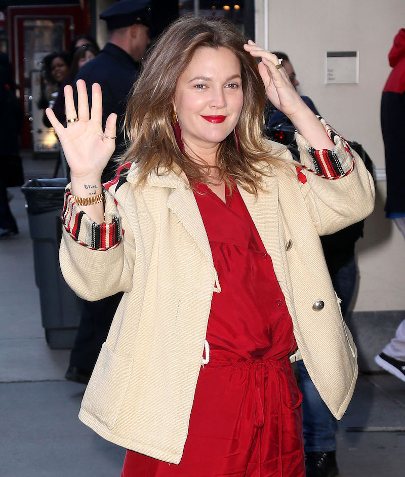 Drew Barrymore red jumpsuit waving outside 'Good Morning America'