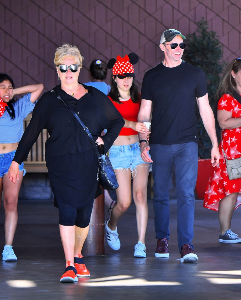 Hugh Jackman and family enjoy a day at Disneyland in Anaheim, CA