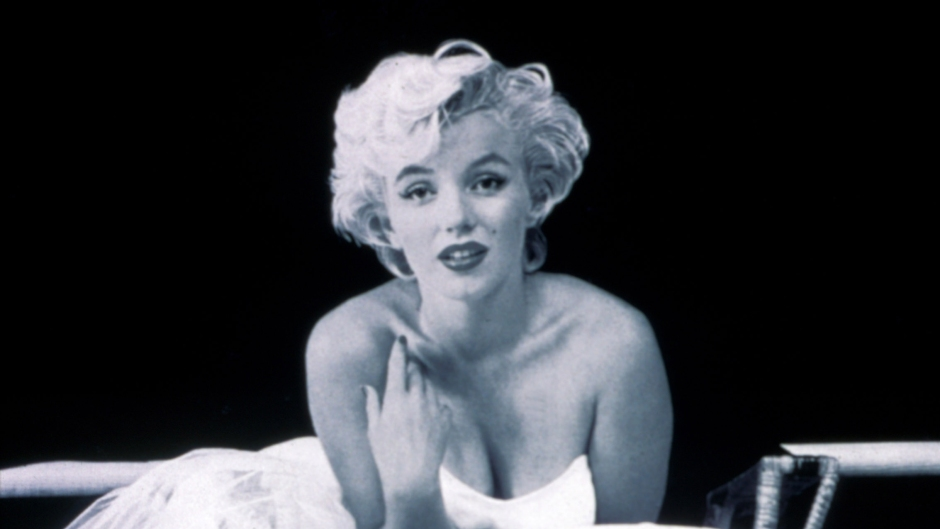 Marilyn Monroe Black and White Photo of Actress in a White Dress