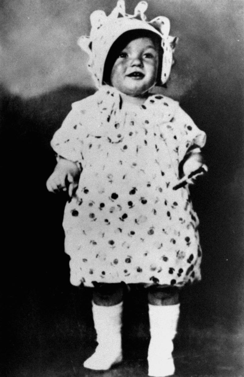 Black and White Photo of Marilyn Monroe as a Child