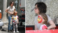 sara gilbert and son rhodes at farmer's market