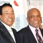 Smokey Robinson and Berry Gordy Jr. of Motown Wear Suits on a Red Carpet