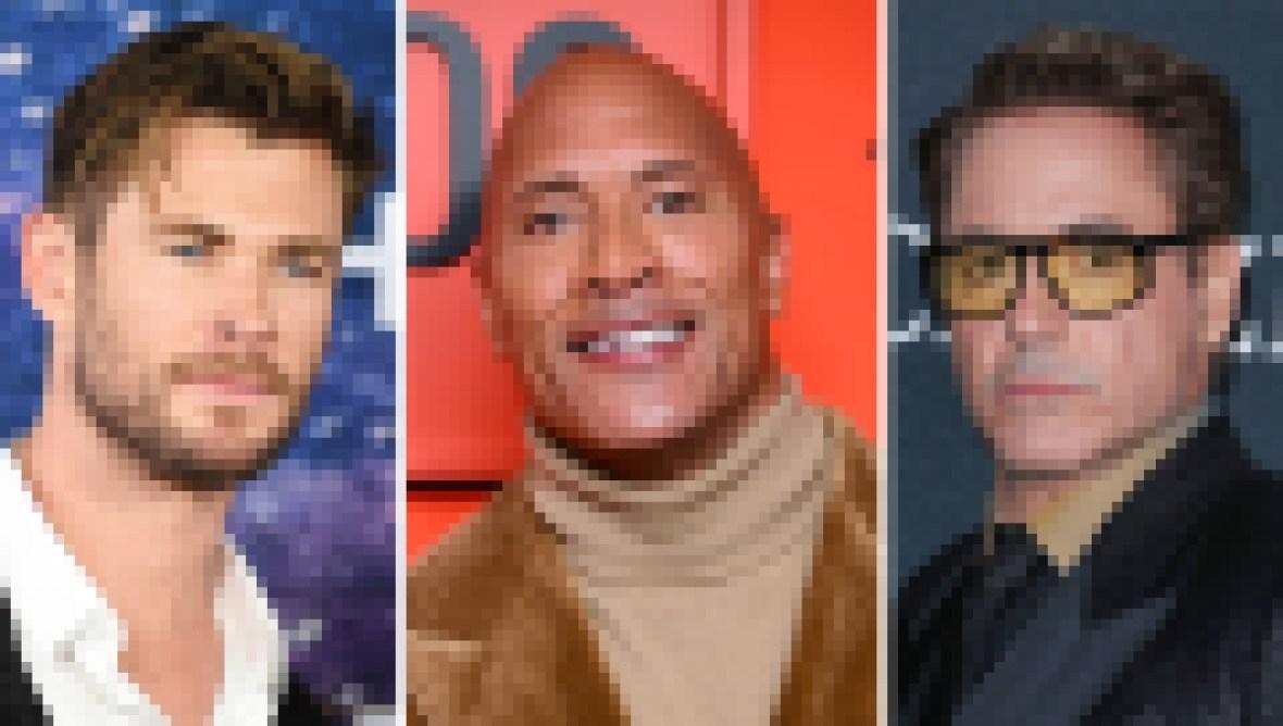 Chris Hemsworth, Dwayne 'The Rock' Johnson, Robert Downey Jr.