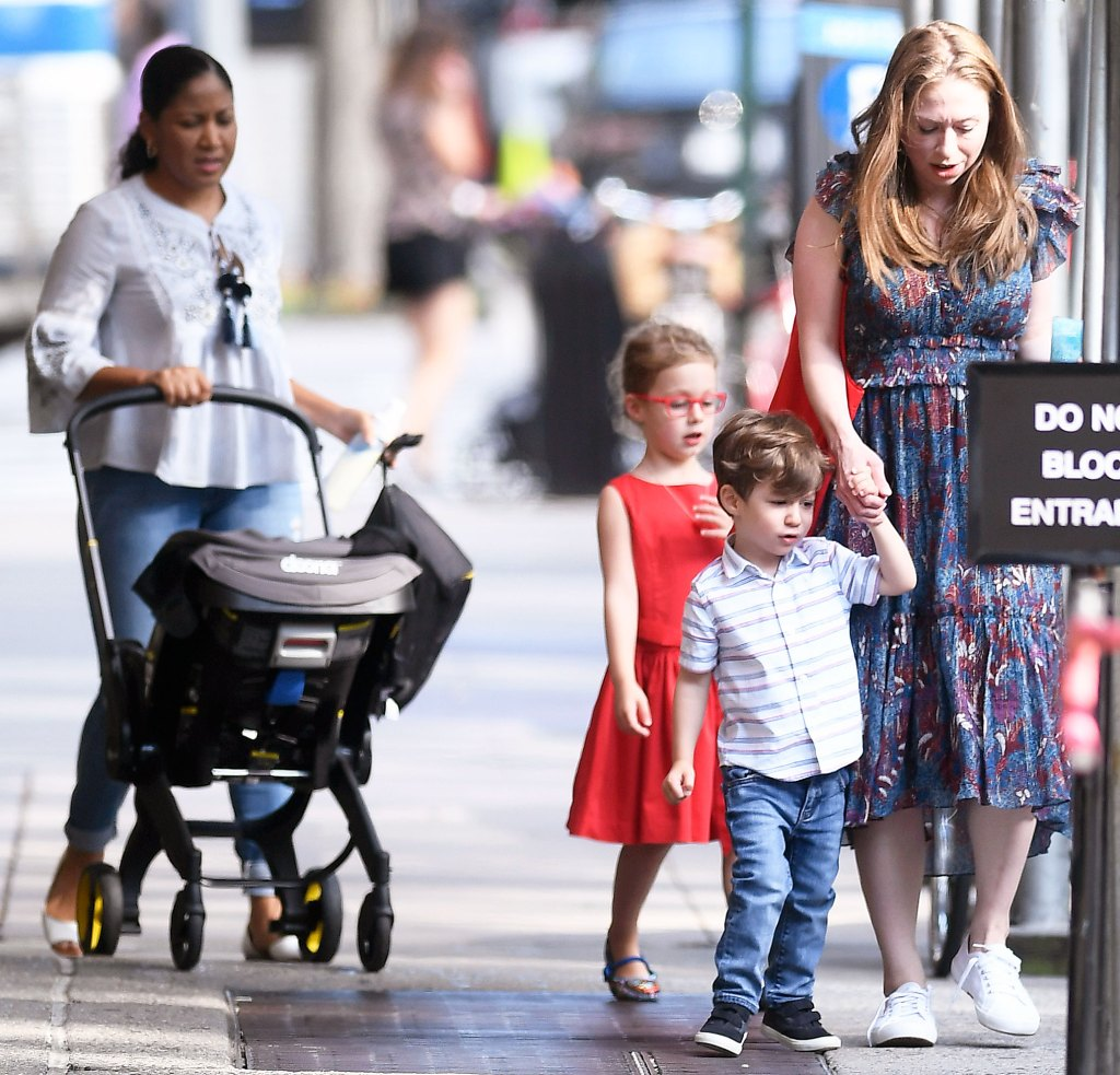 Chelsea Clinton Steps Out With Baby Jasper Charlotte and Aiden