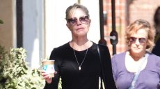 Melanie Griffith shows off her slender pins while walking in Beverly Hills.