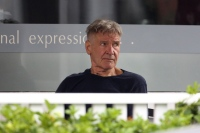 Harrison Ford showcases new haircut while at coffee.