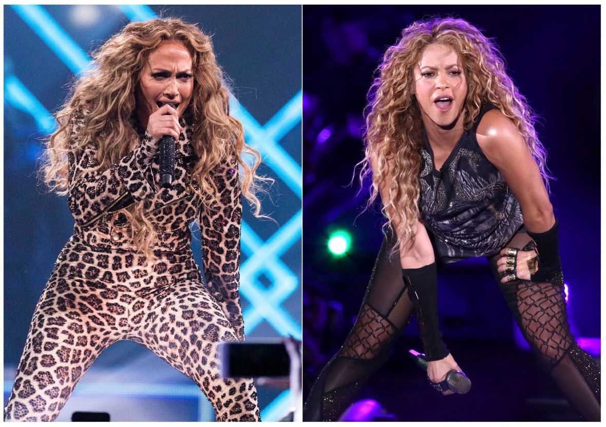 Jennifer Lopez and Shakira Performing Onstage at Separate Events