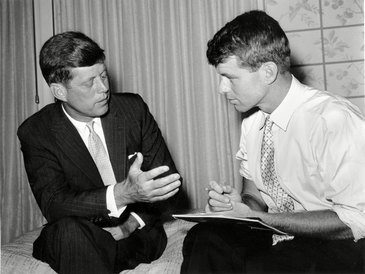 John F. Kennedy and Robert Kennedy in 1960 During Presidential Campaign