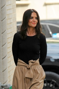 Katie Holmes Looking Happy in a Black and tan Outfit