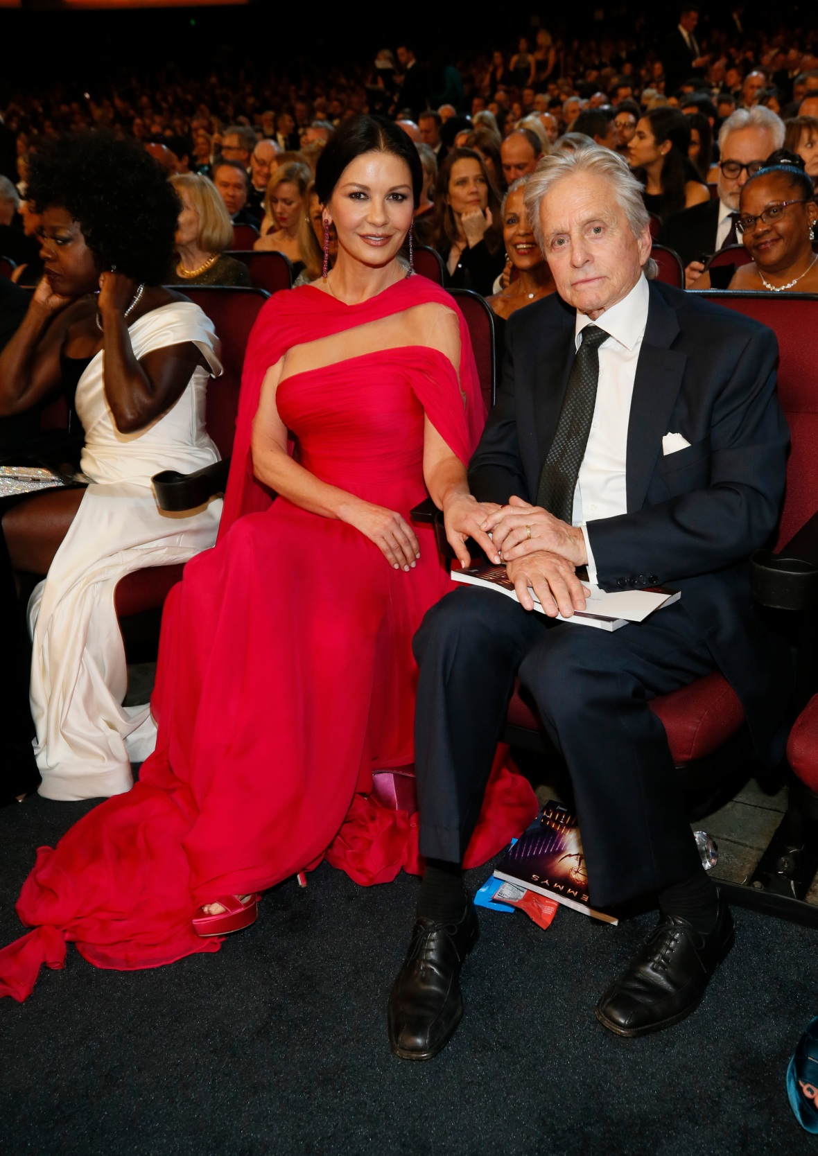 Catherine Zeta-Jones in a Red Dress and Michael Douglas in a Suit Inside the 2019 Emmys