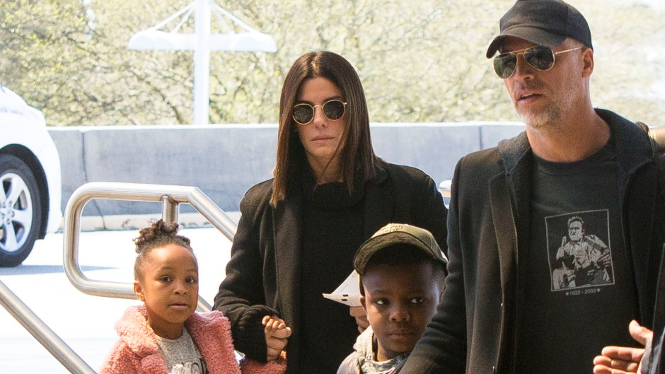 Sandra Bullock, children Louis and Laila, and boyfriend Bryan Randall after Mardi Gras celebrations in New Orleans.