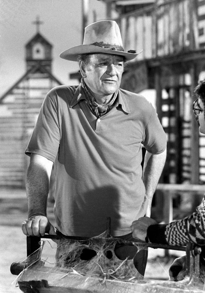 John Wayne Black and White Photo From Movie Set