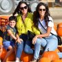 Lauren Silverman, Simon Cowell's girlfriend and his ex Terri Seymour enjoy a day out at a pumpkin patch with their kids