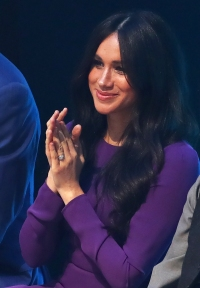 Meghan Markle Duchess of Sussex Steps Out Purple Dress