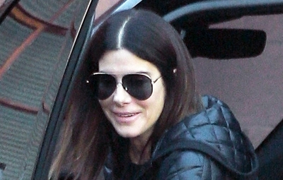 Sandra Bullock happy LA running errands