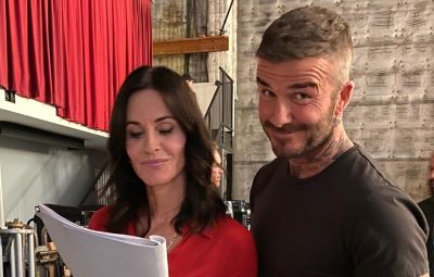 Courteney Cox and David Beckham Filming 'Modern Family'