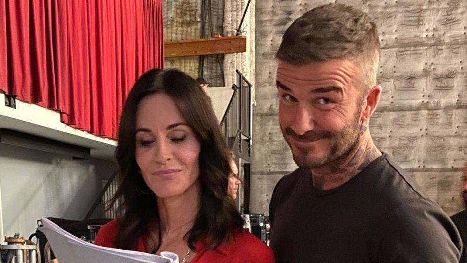 Courteney Cox and David Beckham Filming 'Modern Family'