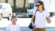Jennifer Garner Looks Casual Running Errands with Son