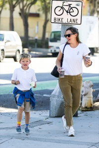 Jennifer Garner Looks Casual Running Errands with Son