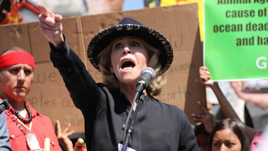 Jane Fonda at a Climate Strike in L.A. in 2019