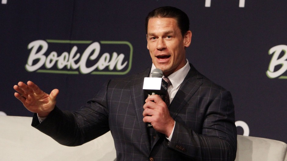 John Cena in a Suit and Holding a Microphone at BookCon 2019