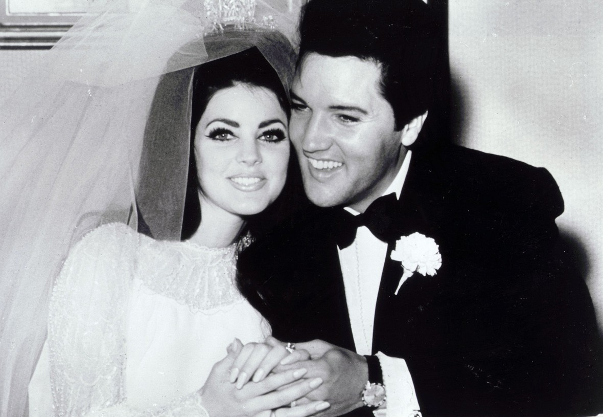 Priscilla Presley and Elvis on Their Wedding Day