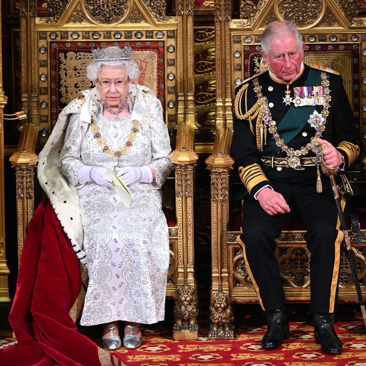 Queen Elizabeth Is Joined by Son Prince Charles at the State Opening of Parliament in London