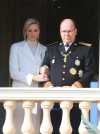 The royal family of Monaco posing at the balcony of the Grimaldi castle