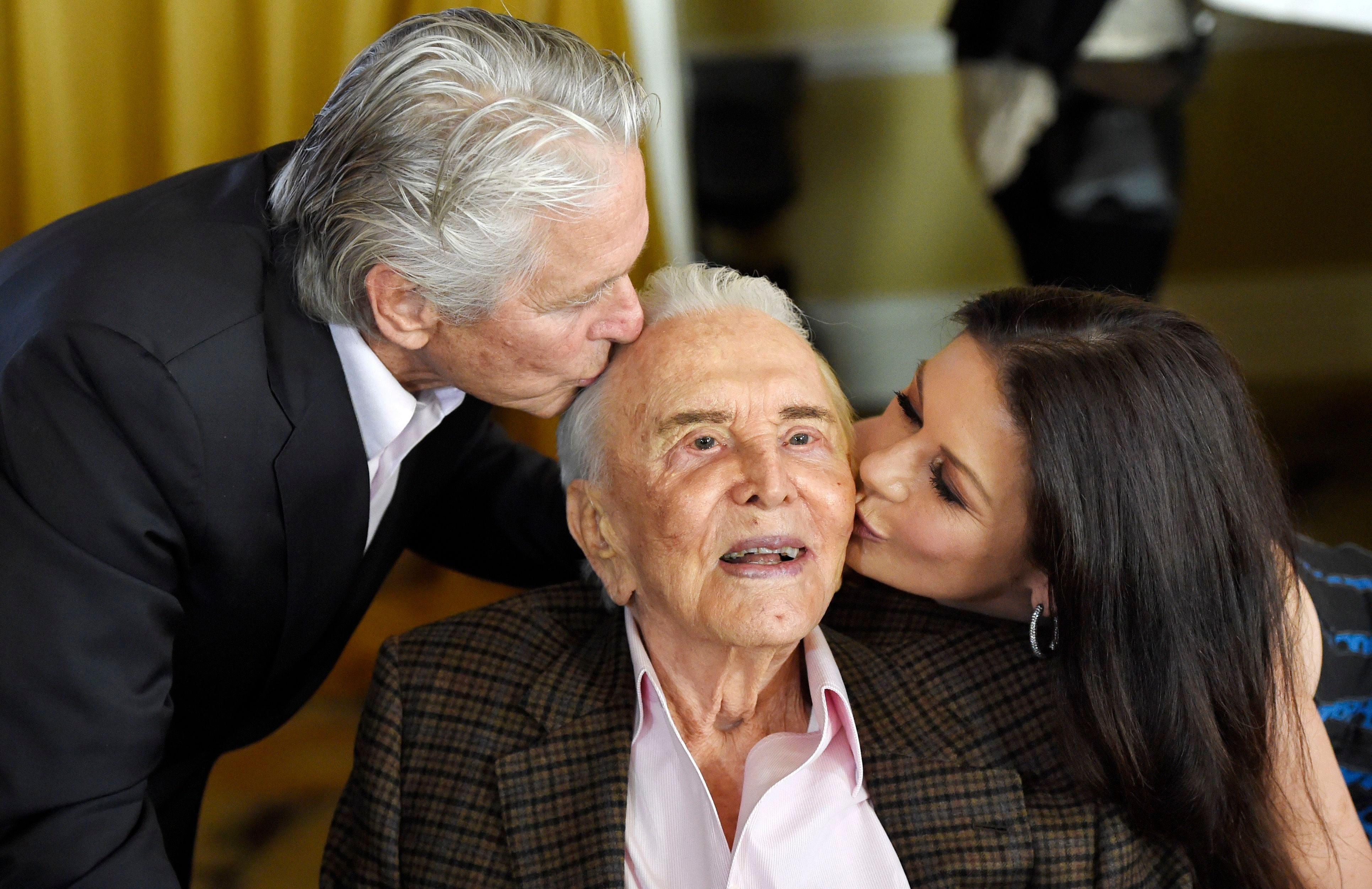 Kirk Douglas Jokingly Tells Son Michael the Secret to a Long Marriage Is to 'Obey Your Wife'