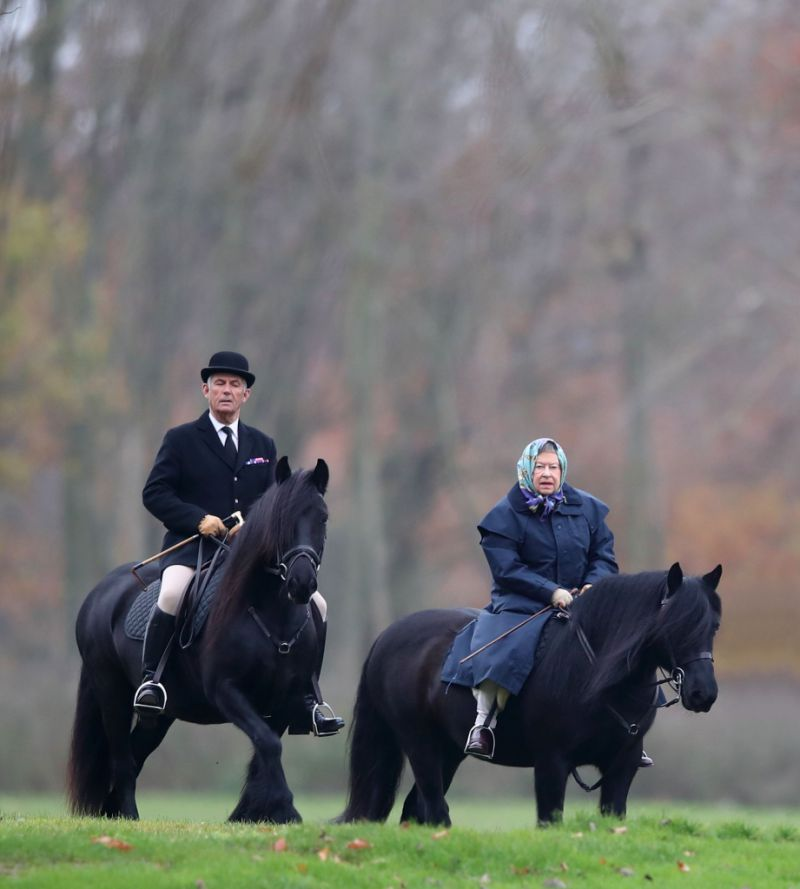 Queen Elizabeth horseback riding