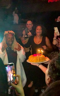Whoopi Goldberg celebrates her 64th birthday at Manhattan restaurant Tao Downtown