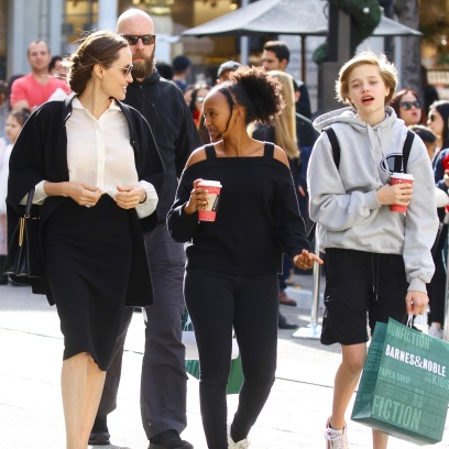 Angelina Jolie takes daughters, Zahara and Shiloh for last minute Christmas shopping at The Grove