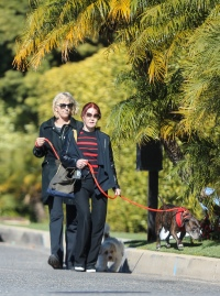 Prisilla Presley, 74, looks sleek and stylish as she goes dog walking in Beverly Hills.