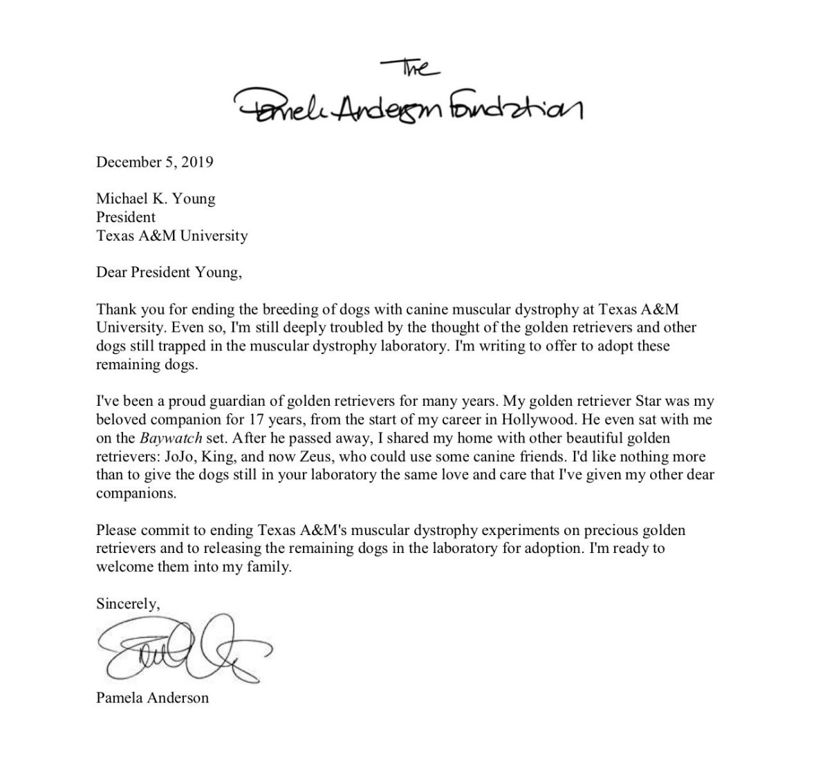Pamela Anderson Letter to Texas A&M University in Partnership With PETA