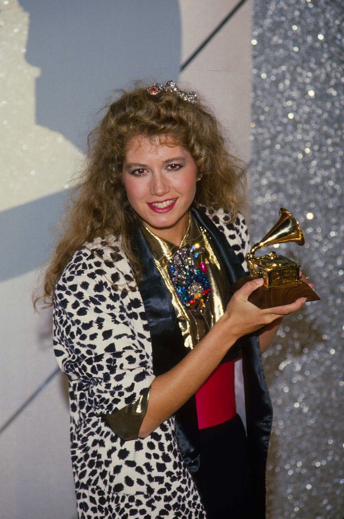 Amy Grant Holding a Grammy