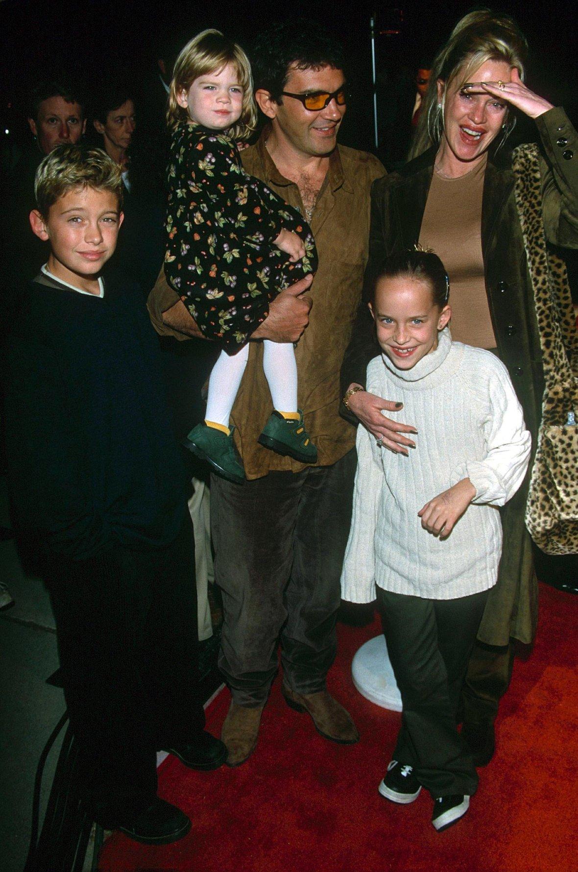 Melanie Griffith With Children Alexander Bauer, Dakota Johnson and Stella Banderas