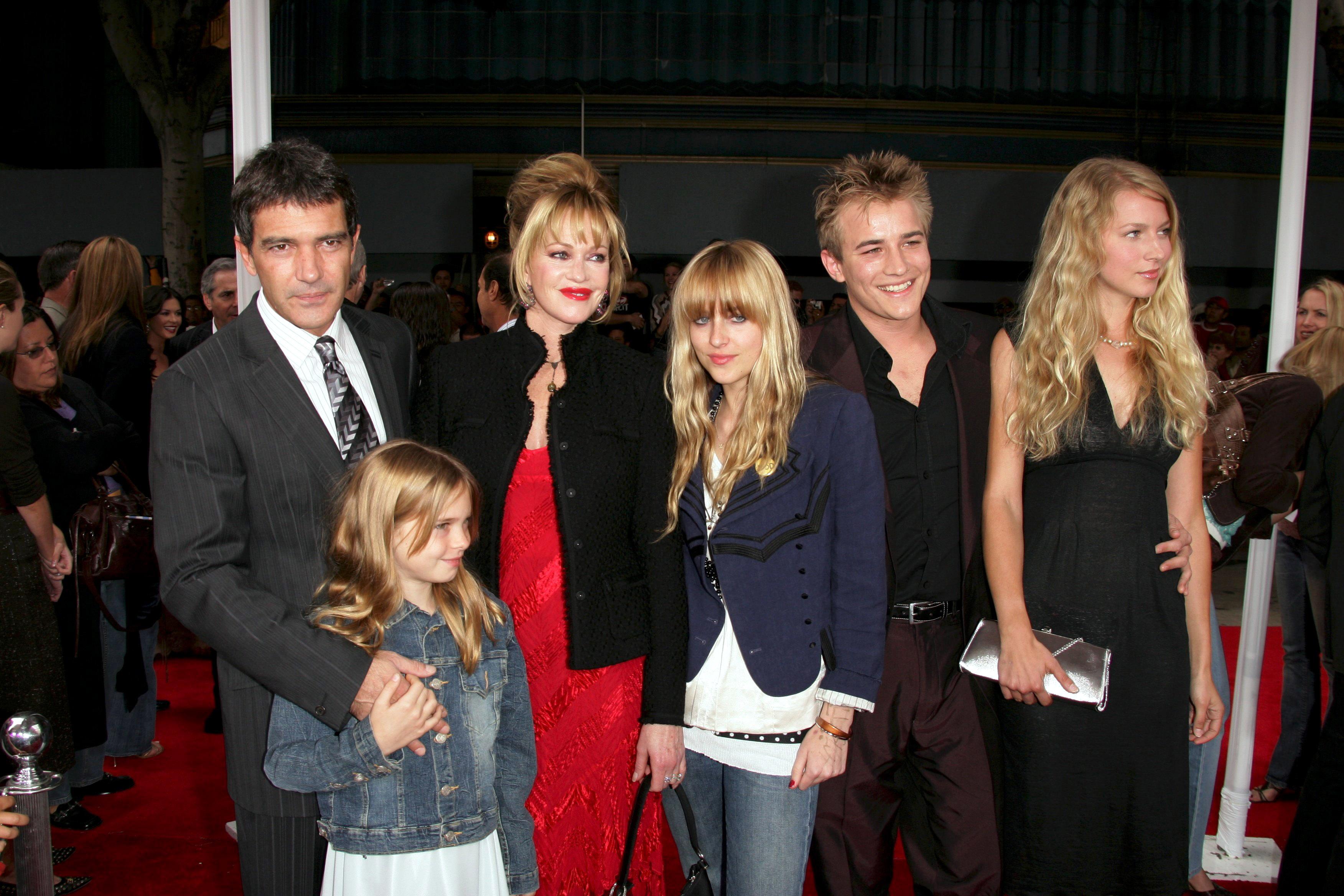 Melanie Griffith With Kids Alexander Bauer, Dakota Johnson and Stella Banderas