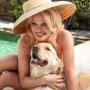 Pamela Anderson With Golden Retriever Zeus